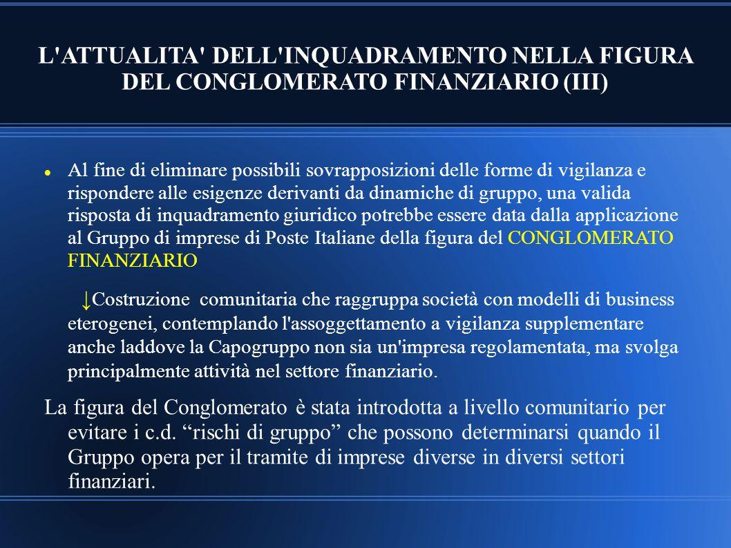 L'ATTUALITA' DELL'INQUADRAMENTO NELLA FIGURA DEL CONGLOMERATO FINANZIARIO (III) Al fine di eliminare possibili sovrapposizioni delle forme di vigilanz