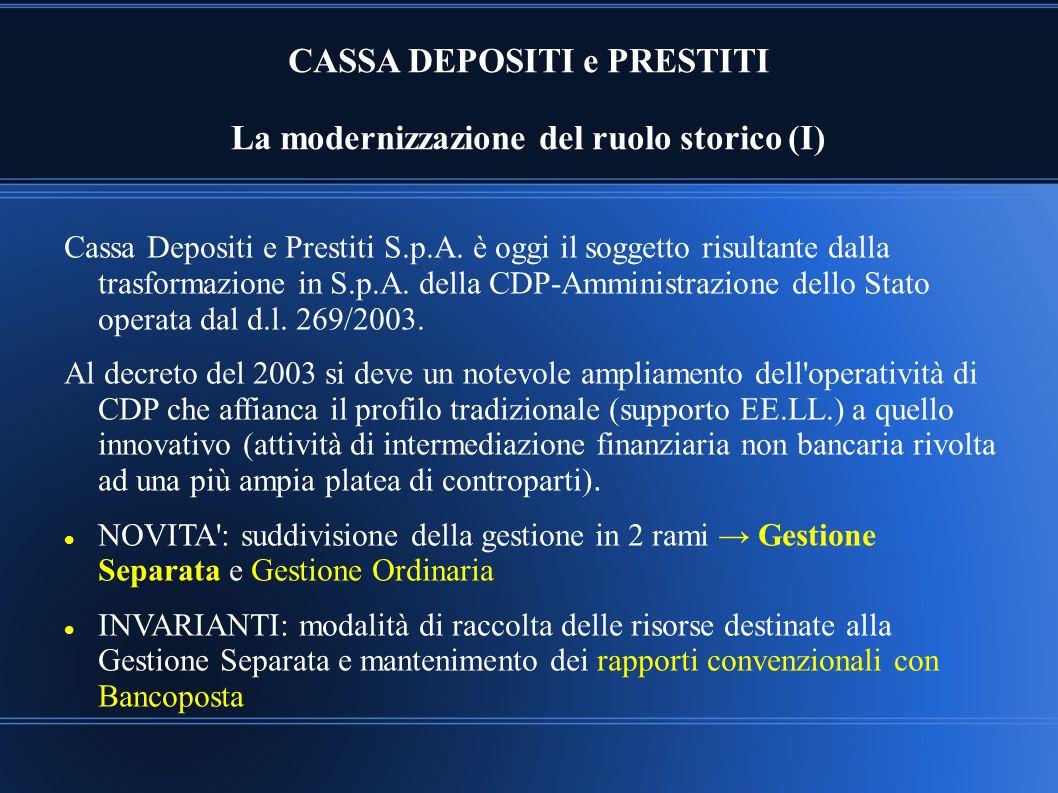 CASSA DEPOSITI e PRESTITI La modernizzazione del ruolo storico (I) Cassa Depositi e Prestiti S.p.A. è oggi il soggetto risultante dalla trasformazione