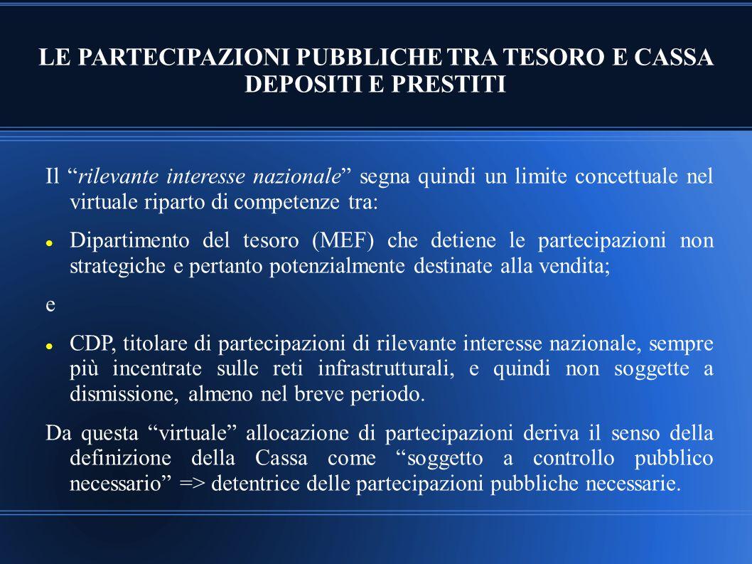 """LE PARTECIPAZIONI PUBBLICHE TRA TESORO E CASSA DEPOSITI E PRESTITI Il """"rilevante interesse nazionale"""" segna quindi un limite concettuale nel virtuale"""