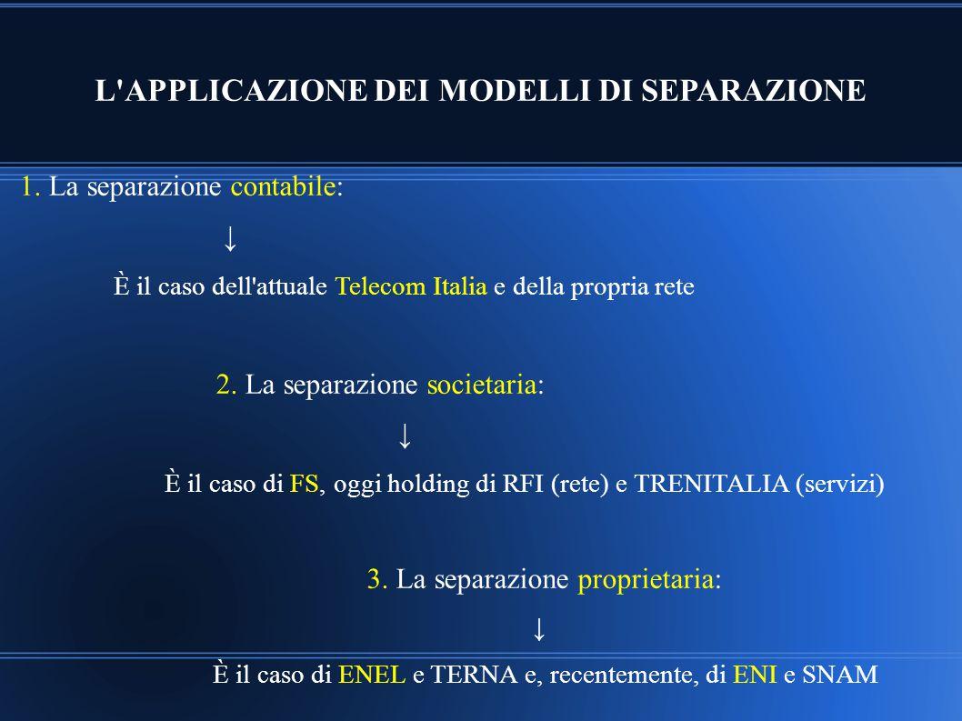 L'APPLICAZIONE DEI MODELLI DI SEPARAZIONE 1. La separazione contabile: ↓ È il caso dell'attuale Telecom Italia e della propria rete 2. La separazione