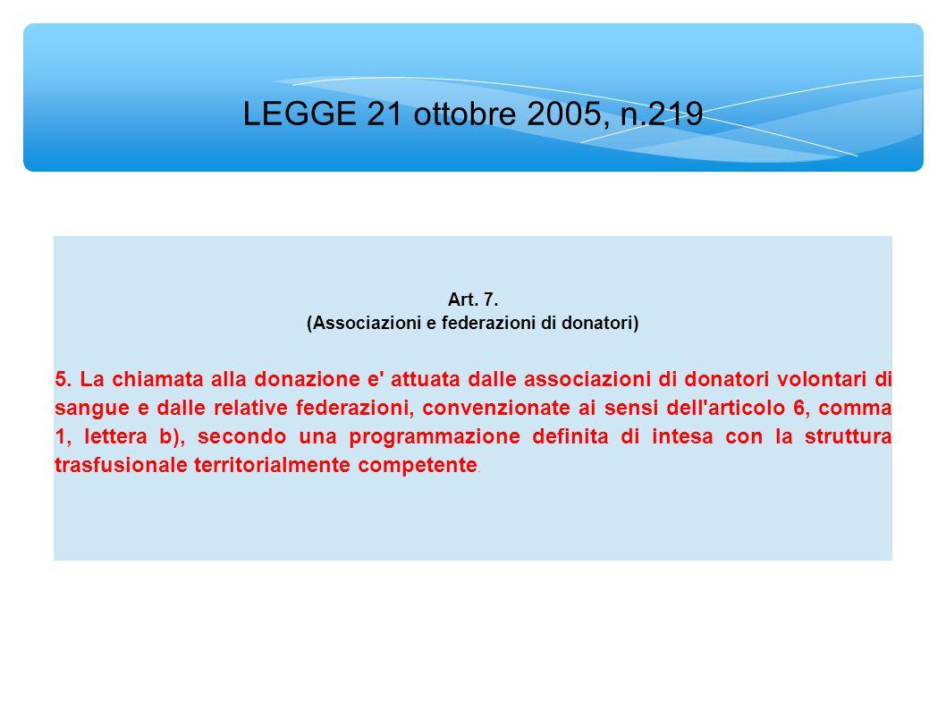 LEGGE 21 ottobre 2005, n.219 Art. 7. (Associazioni e federazioni di donatori) 5.
