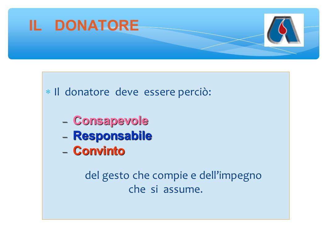 IL DONATORE  Il donatore deve essere perciò:  Consapevole  Responsabile  Convinto del gesto che compie e dell'impegno che si assume.