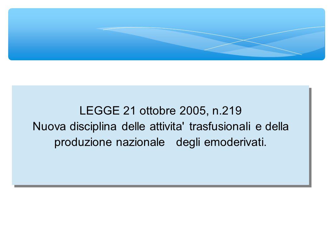 LEGGE 21 ottobre 2005, n.219 Art.2. (Attivita trasfusionali) 1.