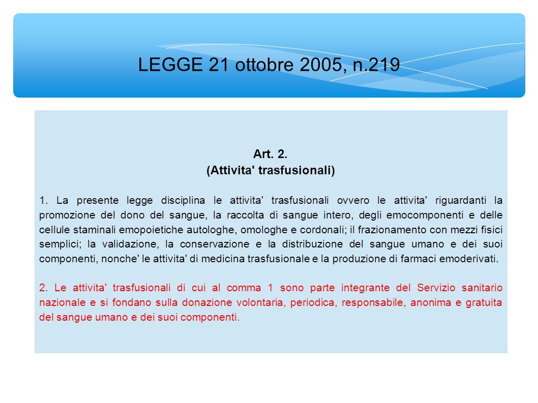 LEGGE 21 ottobre 2005, n.219 Art.4. (Gratuita del sangue e dei suoi prodotti) 1.
