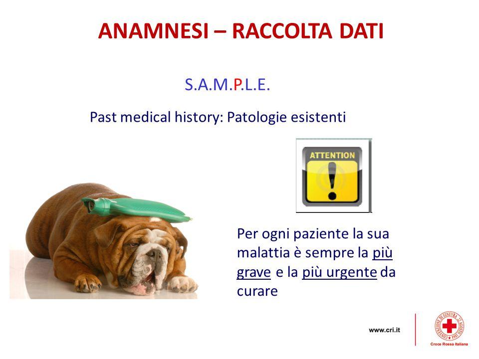 ANAMNESI – RACCOLTA DATI S.A.M.P.L.E. Past medical history: Patologie esistenti Per ogni paziente la sua malattia è sempre la più grave e la più urgen