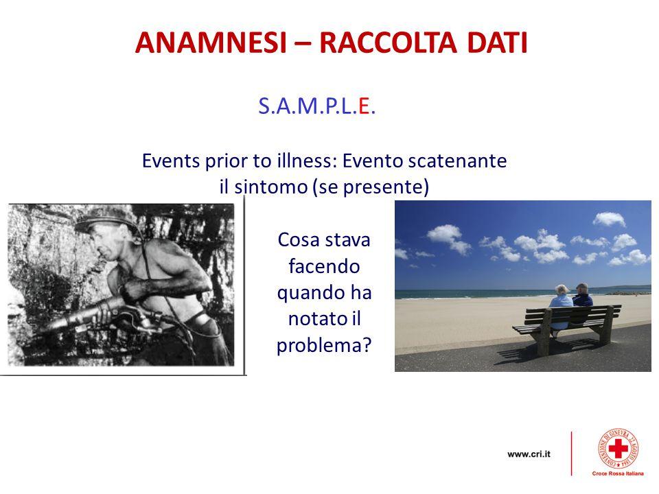ANAMNESI – RACCOLTA DATI S.A.M.P.L.E. Events prior to illness: Evento scatenante il sintomo (se presente) Cosa stava facendo quando ha notato il probl