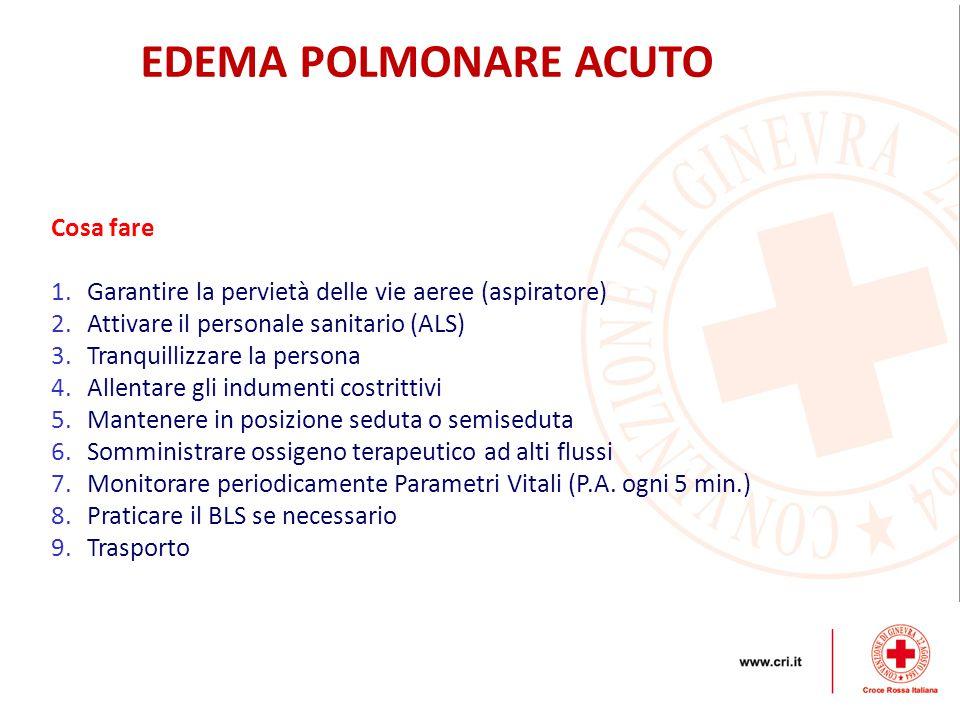 EDEMA POLMONARE ACUTO Cosa fare 1.Garantire la pervietà delle vie aeree (aspiratore) 2.Attivare il personale sanitario (ALS) 3.Tranquillizzare la pers
