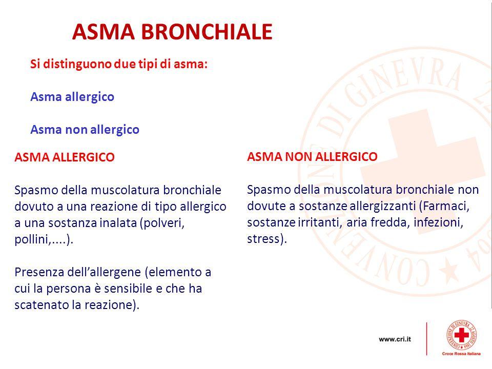Si distinguono due tipi di asma: Asma allergico Asma non allergico ASMA ALLERGICO Spasmo della muscolatura bronchiale dovuto a una reazione di tipo al
