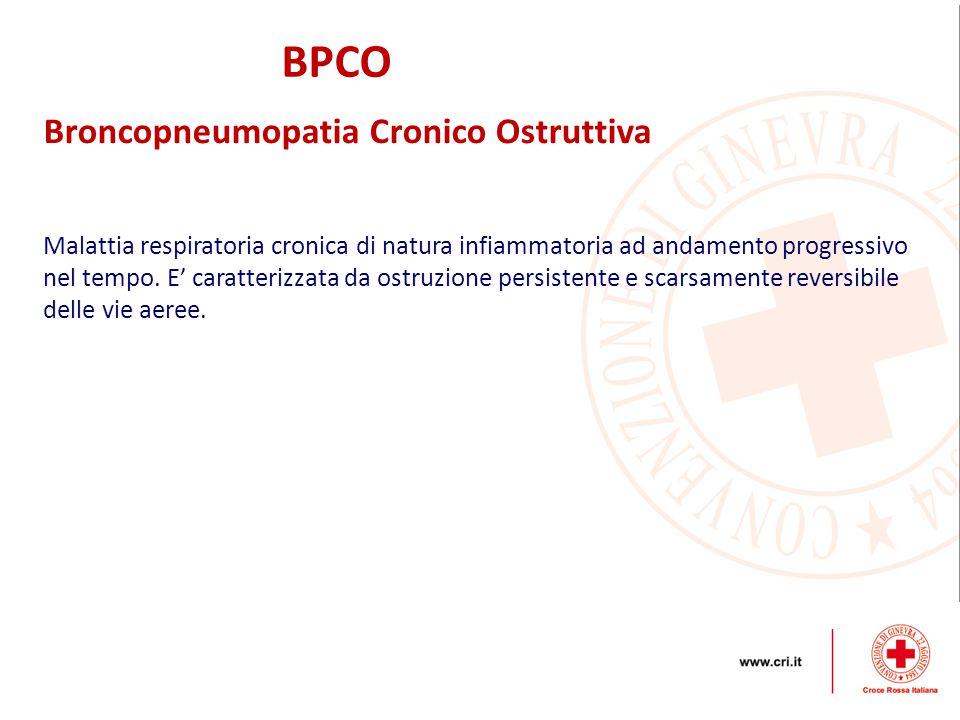 BPCO Broncopneumopatia Cronico Ostruttiva Malattia respiratoria cronica di natura infiammatoria ad andamento progressivo nel tempo. E' caratterizzata