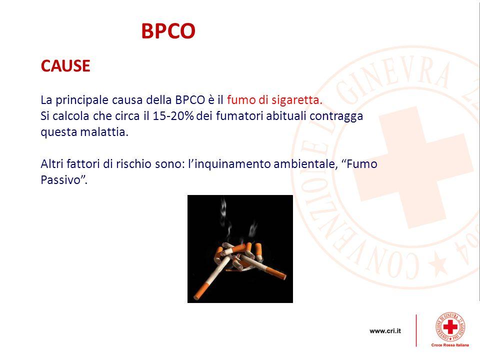 BPCO CAUSE La principale causa della BPCO è il fumo di sigaretta. Si calcola che circa il 15-20% dei fumatori abituali contragga questa malattia. Altr