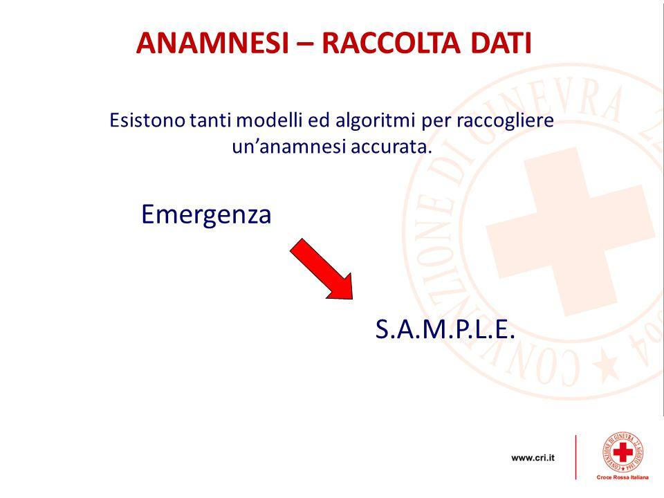 ANAMNESI – RACCOLTA DATI S.A.M.P.L.E. Esistono tanti modelli ed algoritmi per raccogliere un'anamnesi accurata. Emergenza