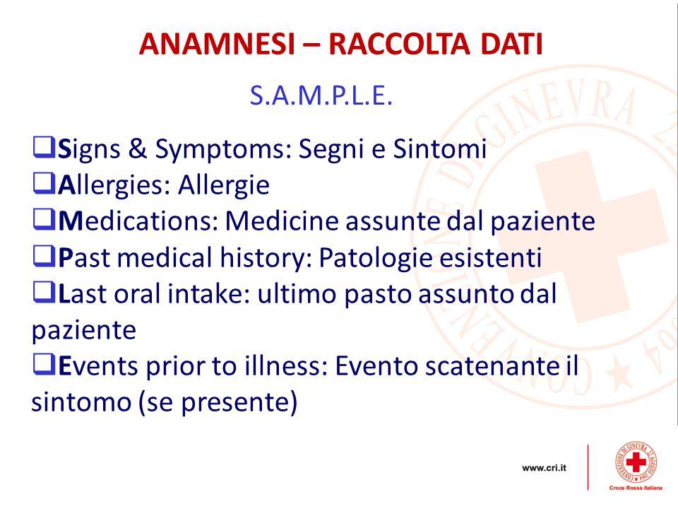 ANAMNESI – RACCOLTA DATI S.A.M.P.L.E.  Signs & Symptoms: Segni e Sintomi  Allergies: Allergie  Medications: Medicine assunte dal paziente  Past me