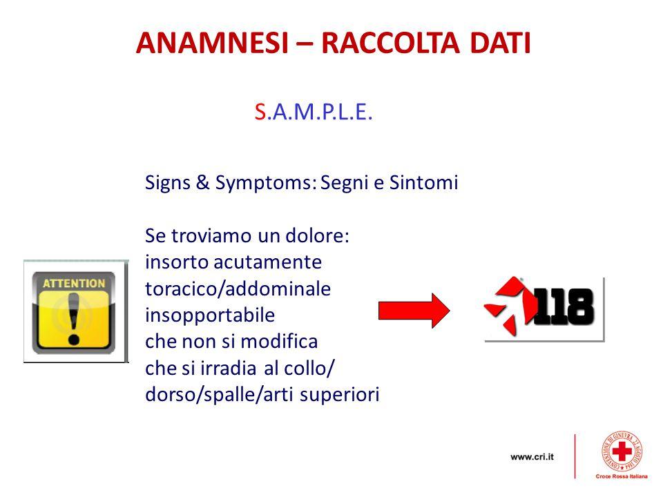 ANAMNESI – RACCOLTA DATI S.A.M.P.L.E. Signs & Symptoms: Segni e Sintomi Se troviamo un dolore: insorto acutamente toracico/addominale insopportabile c