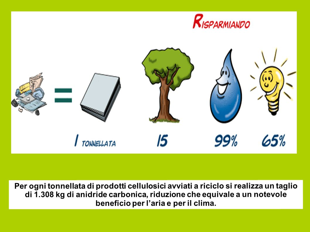 Per ogni tonnellata di prodotti cellulosici avviati a riciclo si realizza un taglio di 1.308 kg di anidride carbonica, riduzione che equivale a un not
