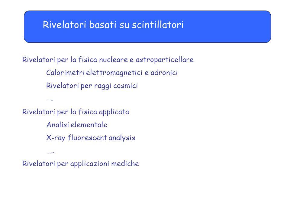 Rivelatori basati su scintillatori Rivelatori per la fisica nucleare e astroparticellare Calorimetri elettromagnetici e adronici Rivelatori per raggi