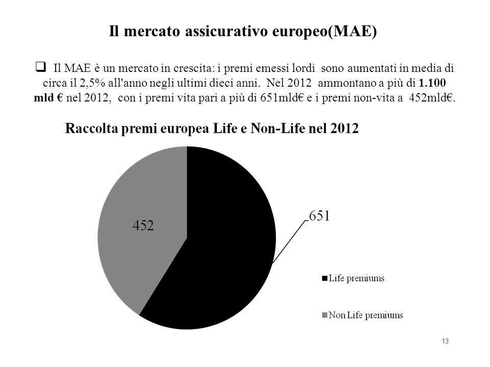 13  Il MAE è un mercato in crescita: i premi emessi lordi sono aumentati in media di circa il 2,5% all'anno negli ultimi dieci anni. Nel 2012 ammonta