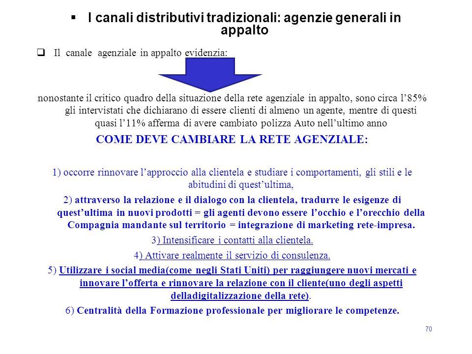 70  I canali distributivi tradizionali: agenzie generali in appalto  Il canale agenziale in appalto evidenzia: nonostante il critico quadro della si