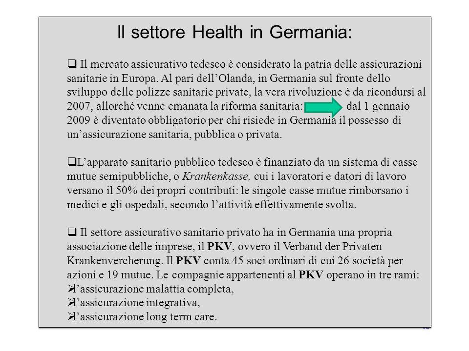 92 Il settore Health in Germania:  Il mercato assicurativo tedesco è considerato la patria delle assicurazioni sanitarie in Europa. Al pari dell'Olan