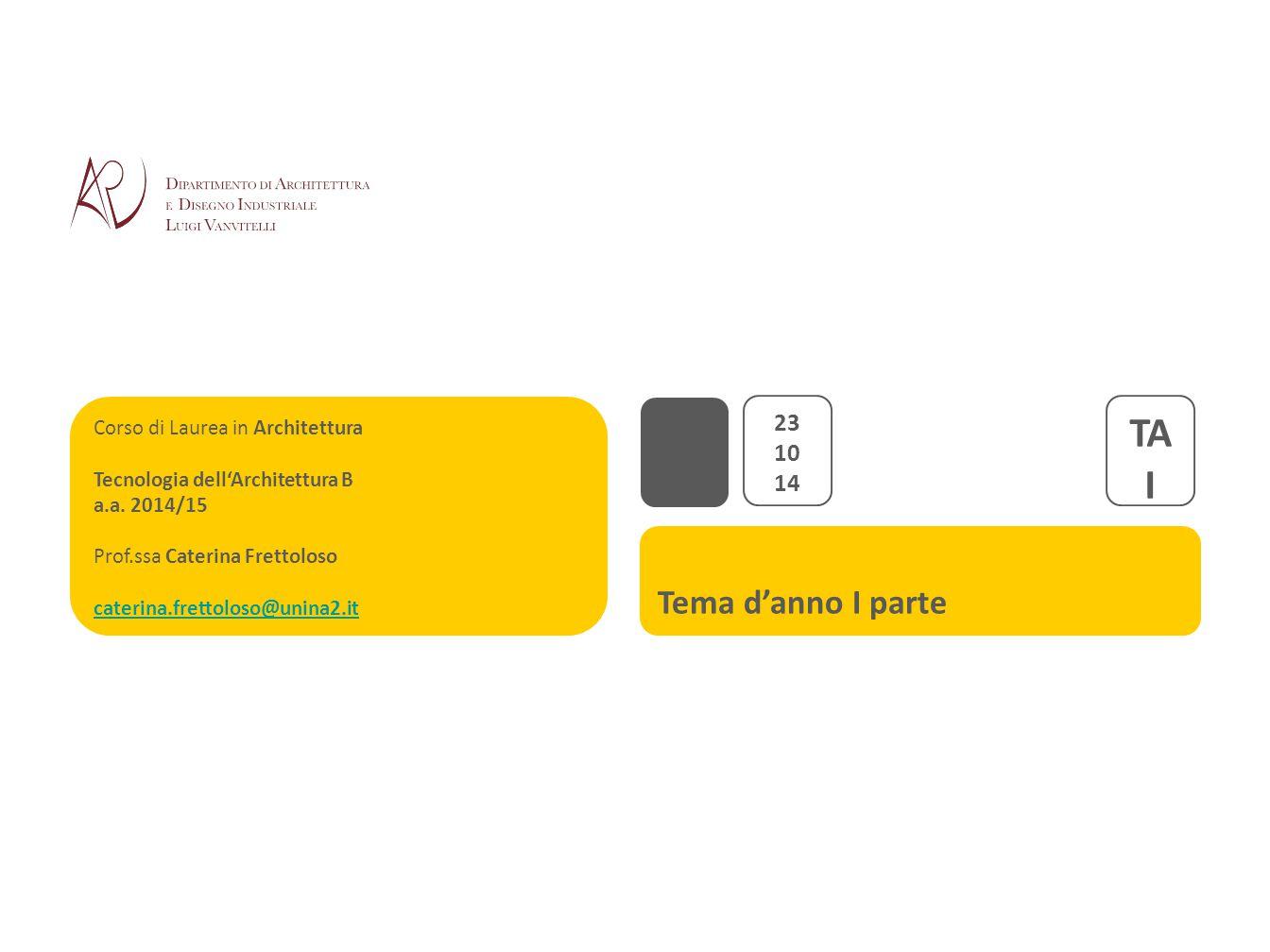 Tema d'anno I parte Corso di Laurea in Architettura Tecnologia dell'Architettura B a.a. 2014/15 Prof.ssa Caterina Frettoloso caterina.frettoloso@unina