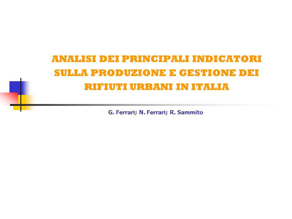 ANALISI DEI PRINCIPALI INDICATORI SULLA PRODUZIONE E GESTIONE DEI RIFIUTI URBANI IN ITALIA G.