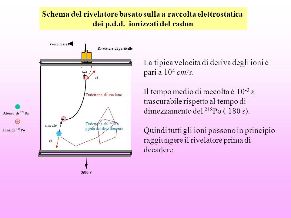 La tipica velocità di deriva degli ioni è pari a 10 4 cm/s. Il tempo medio di raccolta è 10 -3 s, trascurabile rispetto al tempo di dimezzamento del 2