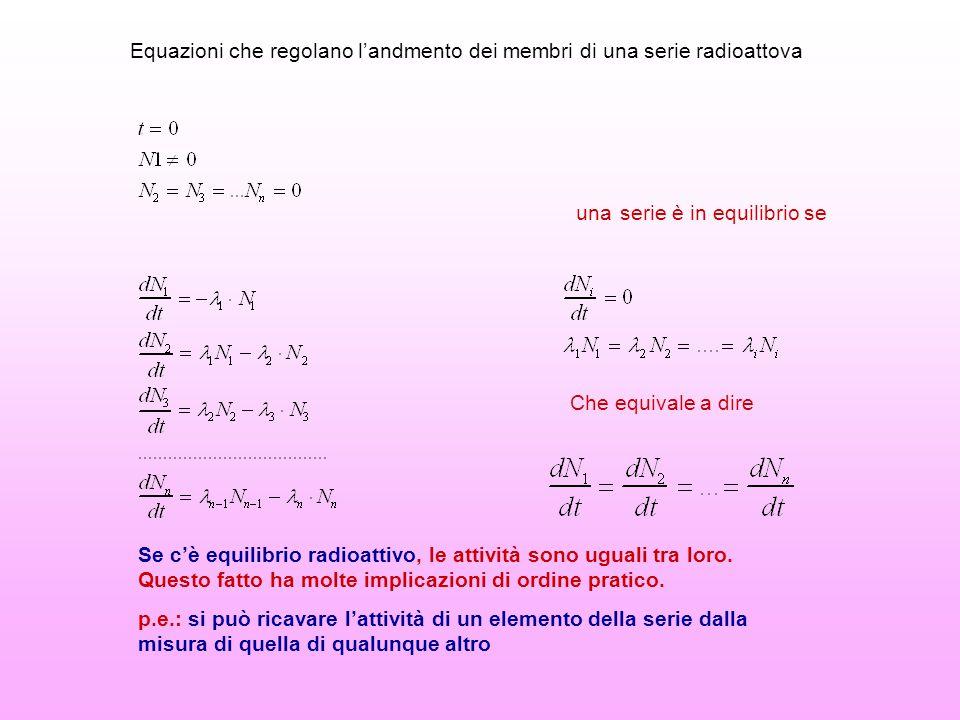 Equazioni che regolano l'andmento dei membri di una serie radioattova una serie è in equilibrio se Che equivale a dire Se c'è equilibrio radioattivo,