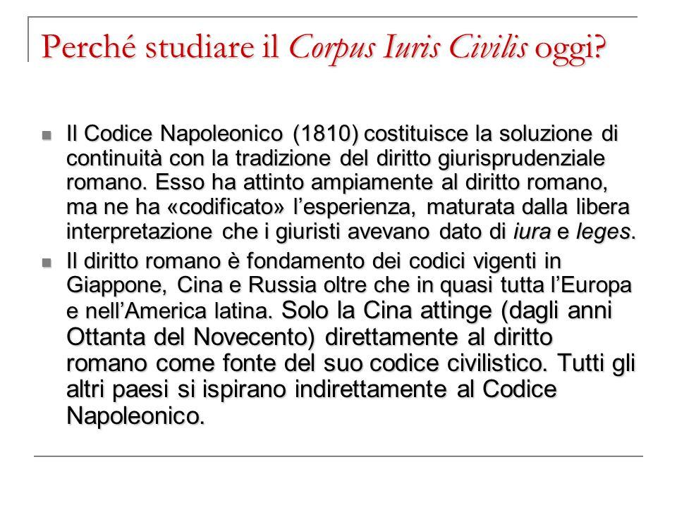 Perché studiare il Corpus Iuris Civilis oggi? Il Codice Napoleonico (1810) costituisce la soluzione di continuità con la tradizione del diritto giuris