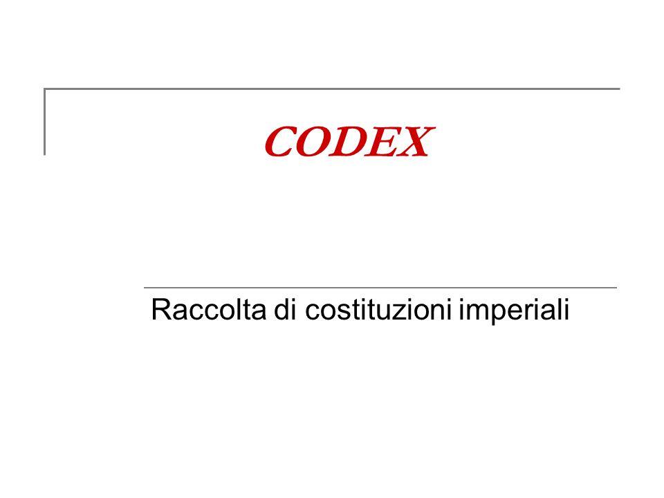 CODEX Raccolta di costituzioni imperiali