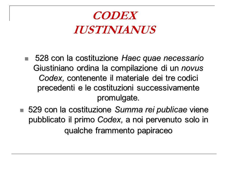 CODEX IUSTINIANUS 528 con la costituzione Haec quae necessario Giustiniano ordina la compilazione di un novus Codex, contenente il materiale dei tre c