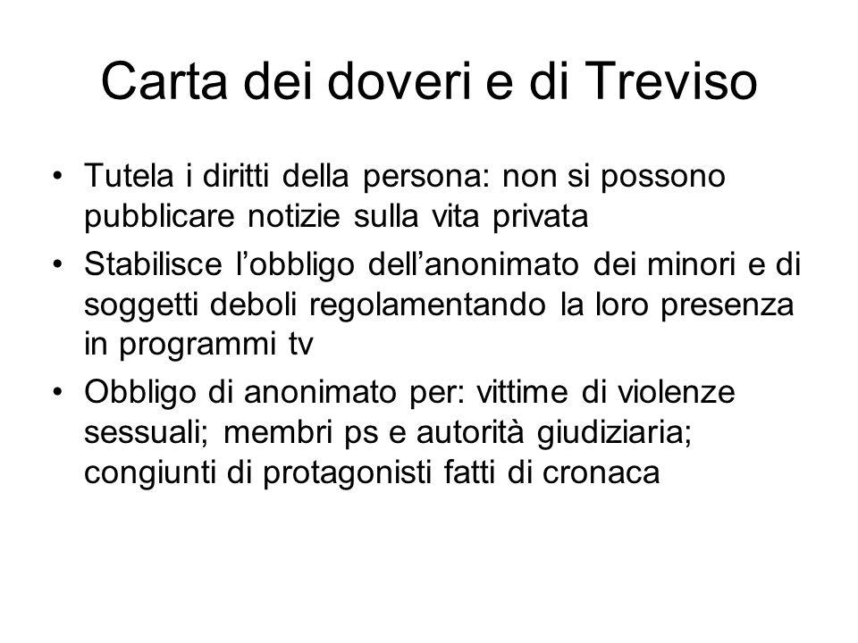 Carta dei doveri e di Treviso Tutela i diritti della persona: non si possono pubblicare notizie sulla vita privata Stabilisce l'obbligo dell'anonimato