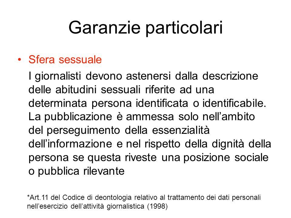 Garanzie particolari Sfera sessuale I giornalisti devono astenersi dalla descrizione delle abitudini sessuali riferite ad una determinata persona iden