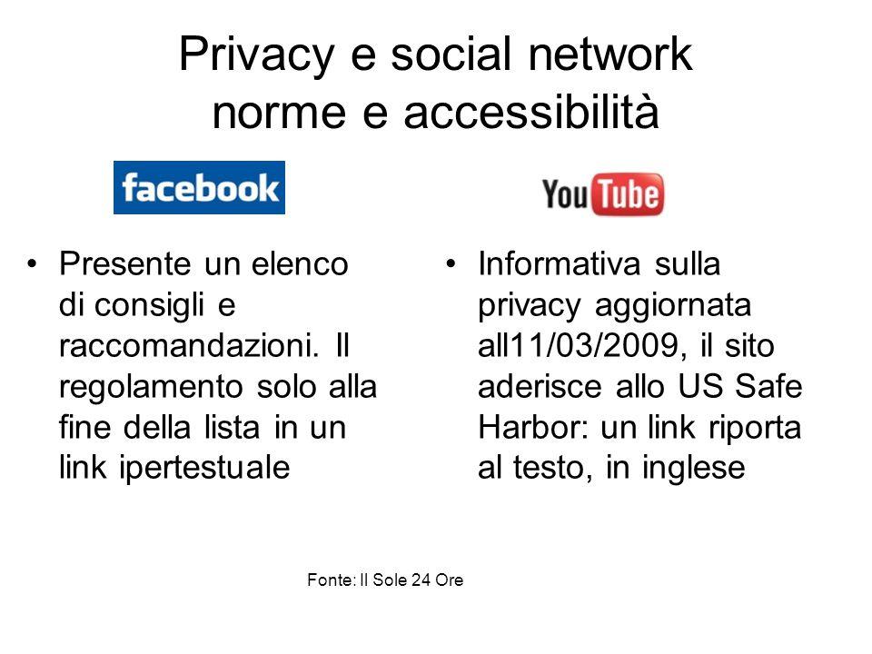 Privacy e social network norme e accessibilità Presente un elenco di consigli e raccomandazioni. Il regolamento solo alla fine della lista in un link