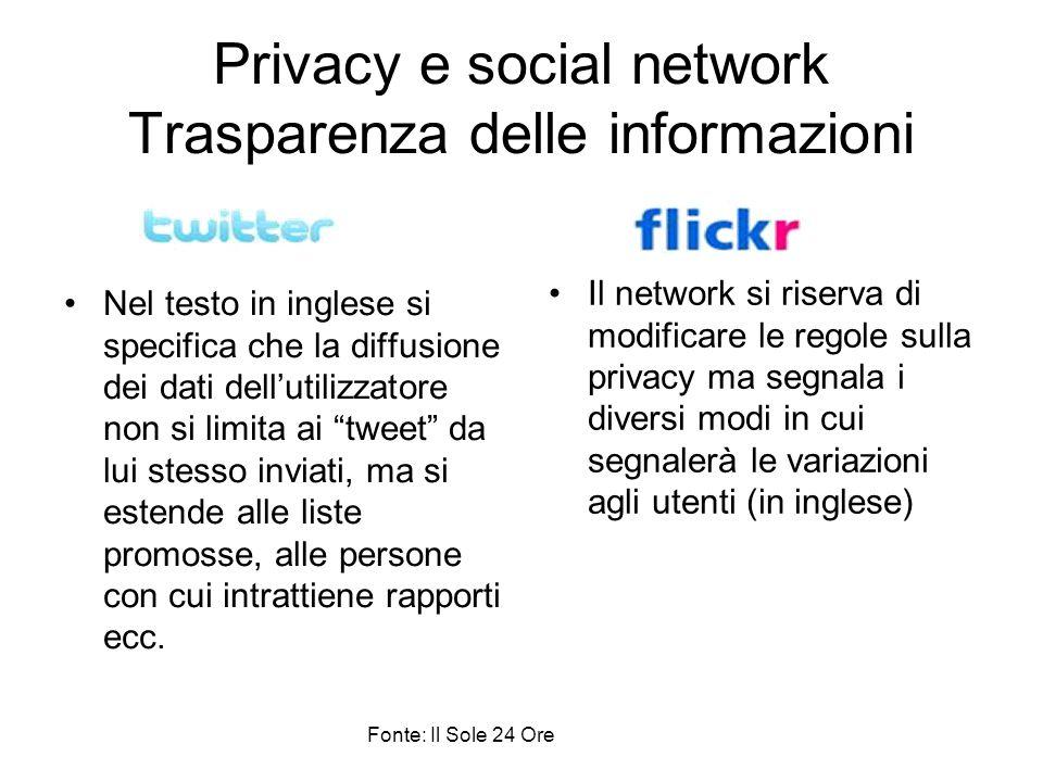 Privacy e social network Trasparenza delle informazioni Nel testo in inglese si specifica che la diffusione dei dati dell'utilizzatore non si limita a