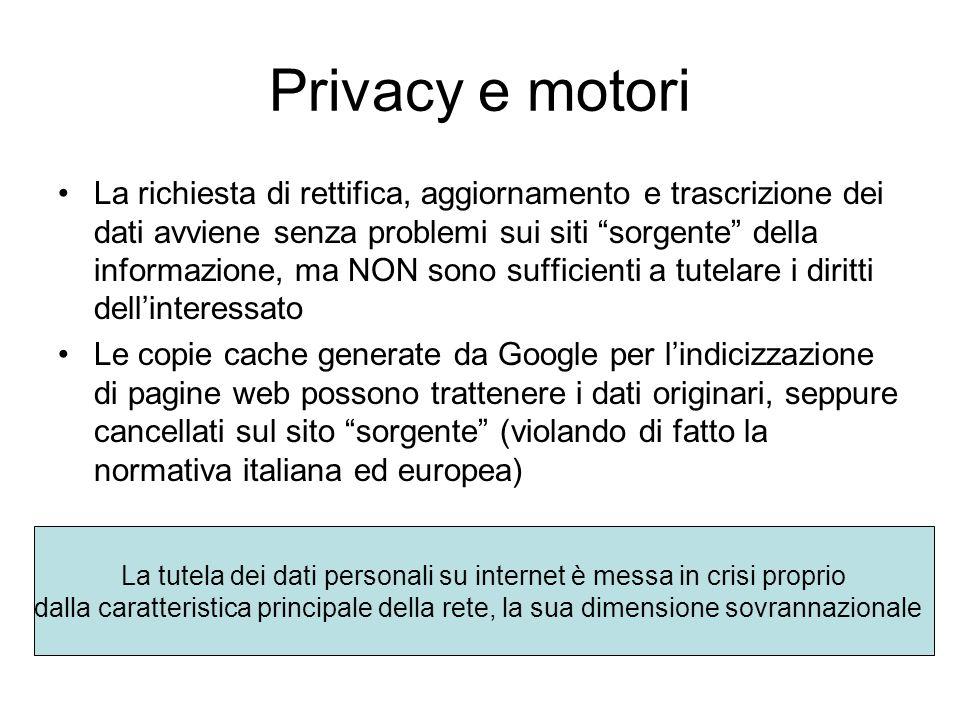 """Privacy e motori La richiesta di rettifica, aggiornamento e trascrizione dei dati avviene senza problemi sui siti """"sorgente"""" della informazione, ma NO"""