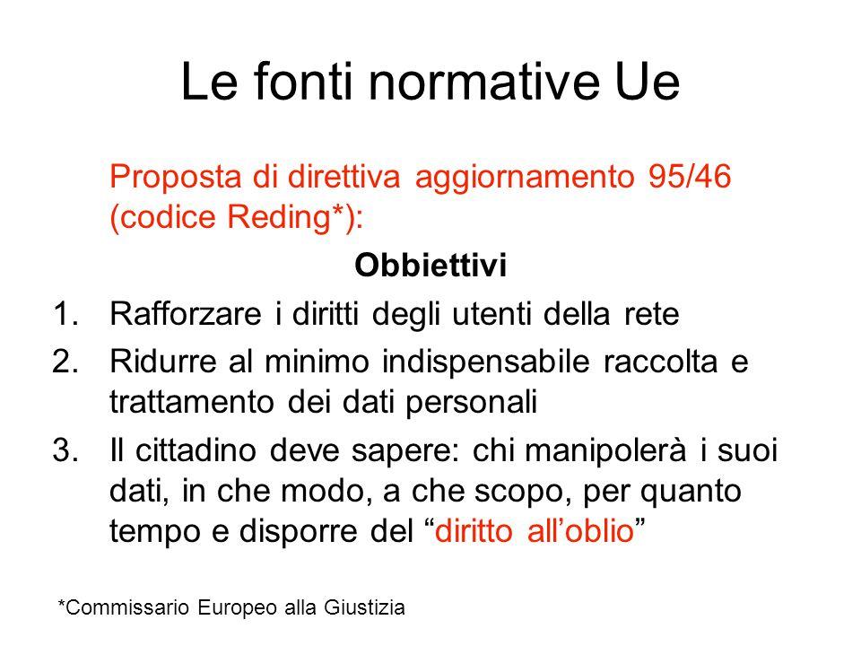 Le fonti normative Ue Proposta di direttiva aggiornamento 95/46 (codice Reding*): Obbiettivi 1.Rafforzare i diritti degli utenti della rete 2.Ridurre