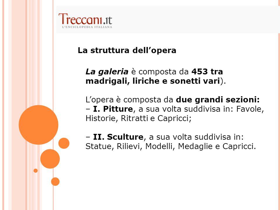 La galeria è composta da 453 tra madrigali, liriche e sonetti vari). L'opera è composta da due grandi sezioni: – I. Pitture, a sua volta suddivisa in: