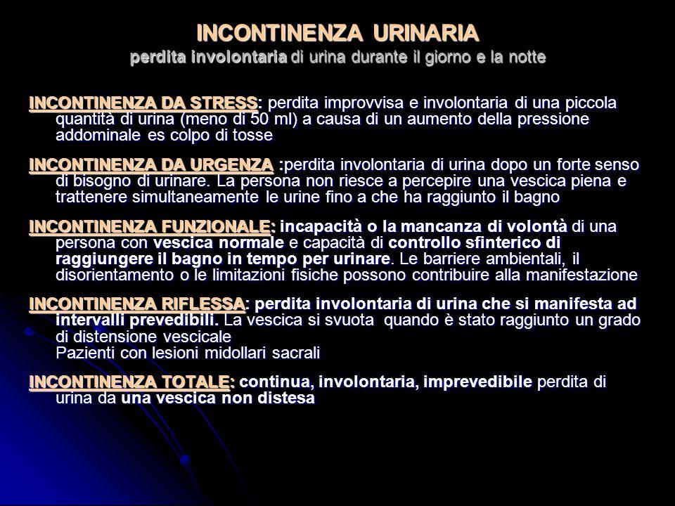 INCONTINENZA URINARIA perdita involontaria di urina durante il giorno e la notte INCONTINENZA DA STRESS: perdita improvvisa e involontaria di una piccola quantità di urina (meno di 50 ml) a causa di un aumento della pressione addominale es colpo di tosse INCONTINENZA DA URGENZA :perdita involontaria di urina dopo un forte senso di bisogno di urinare.