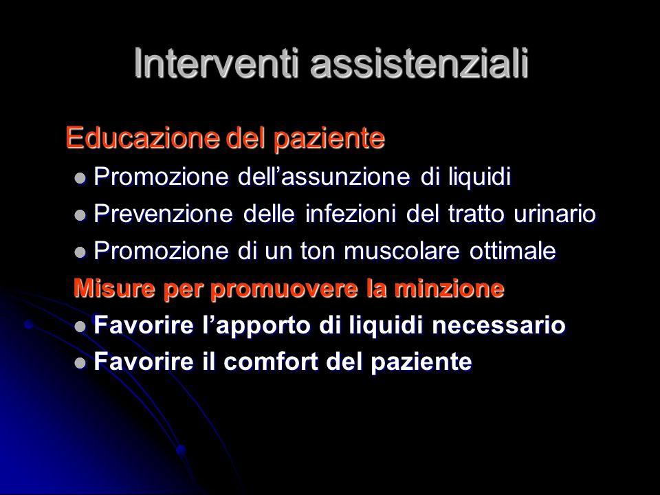 Interventi assistenziali Educazione del paziente Educazione del paziente Promozione dell'assunzione di liquidi Promozione dell'assunzione di liquidi P