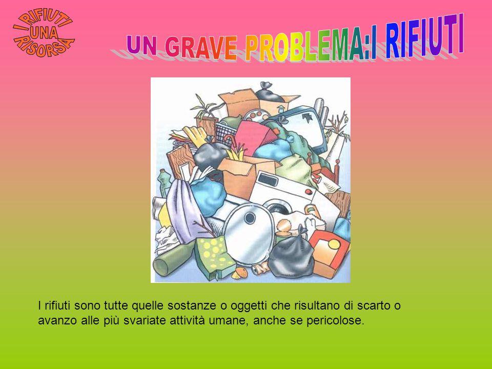 I rifiuti sono tutte quelle sostanze o oggetti che risultano di scarto o avanzo alle più svariate attività umane, anche se pericolose.