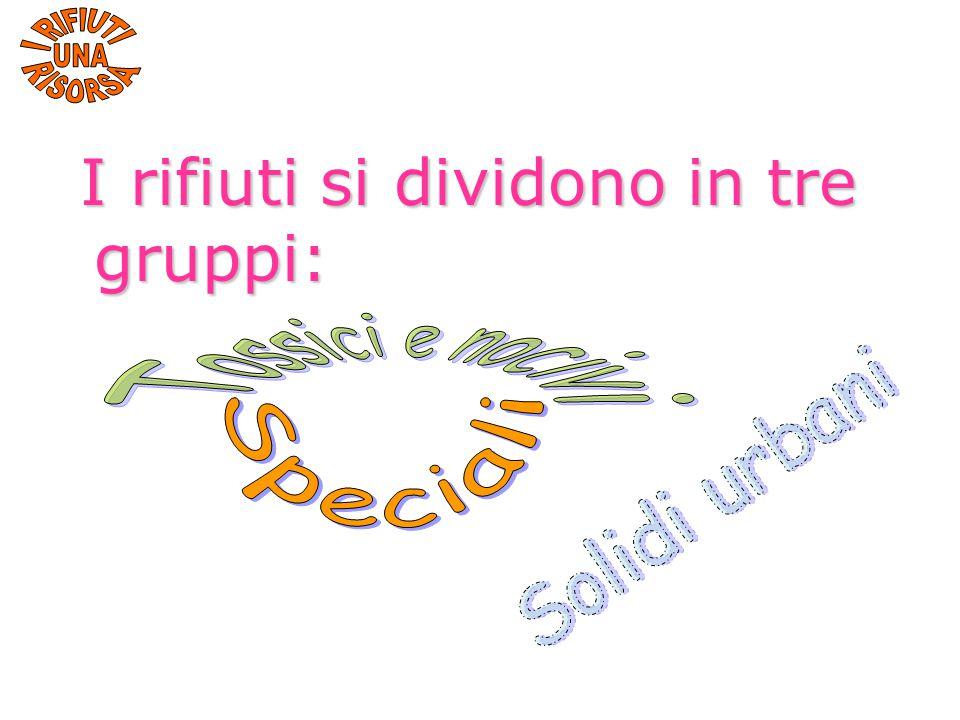 I rifiuti si dividono in tre gruppi: I rifiuti si dividono in tre gruppi: