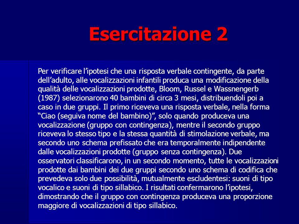 Esercitazione 2 Per verificare l'ipotesi che una risposta verbale contingente, da parte dell'adulto, alle vocalizzazioni infantili produca una modific