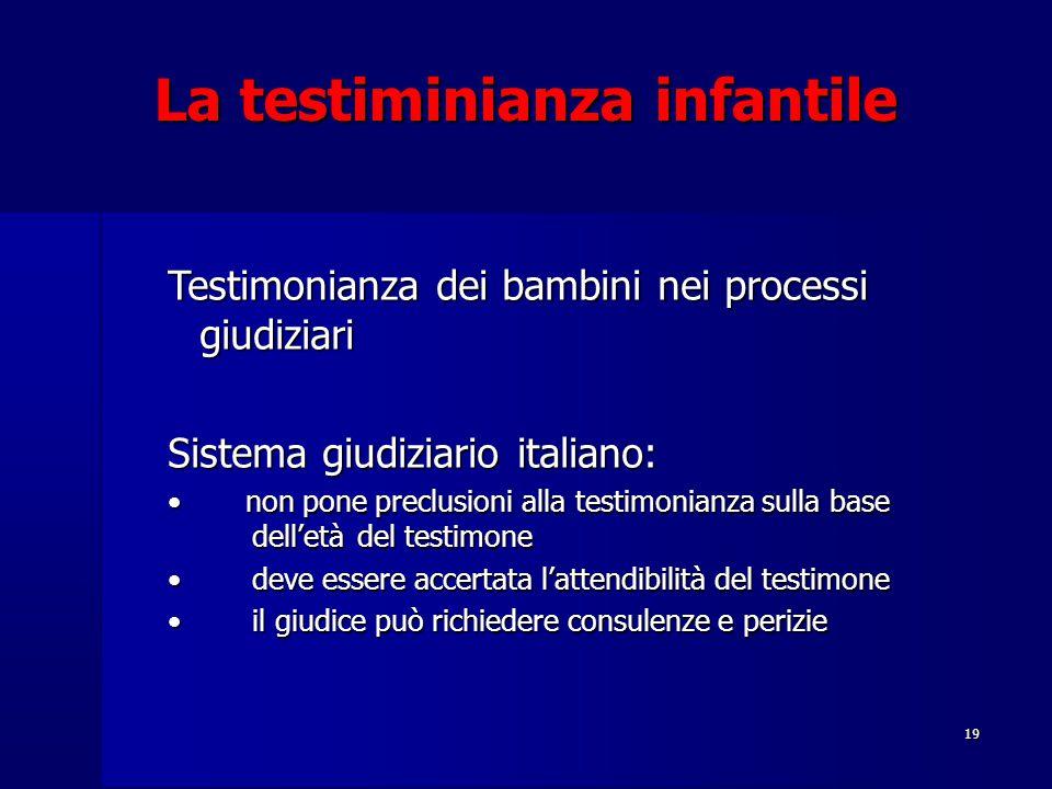 19 La testiminianza infantile Testimonianza dei bambini nei processi giudiziari Sistema giudiziario italiano: non pone preclusioni alla testimonianza