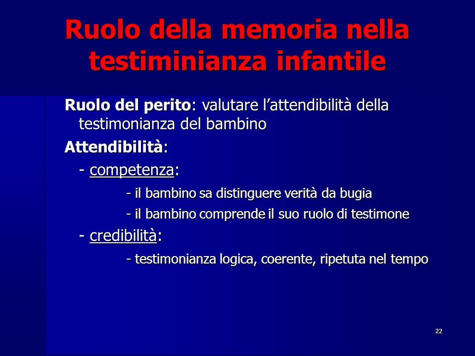 22 Ruolo della memoria nella testiminianza infantile Ruolo del perito: valutare l'attendibilità della testimonianza del bambino Attendibilità: - compe