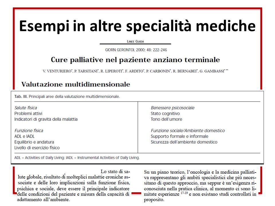 Esempi in altre specialità mediche