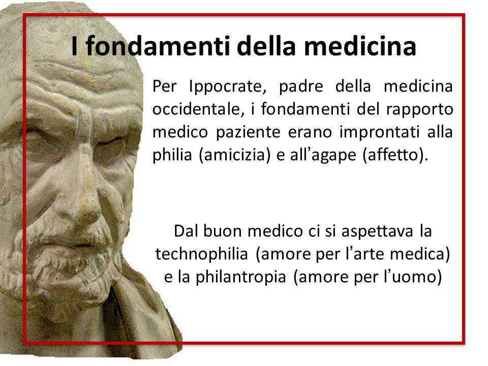 I fondamenti della medicina Per Ippocrate, padre della medicina occidentale, i fondamenti del rapporto medico paziente erano improntati alla philia (a