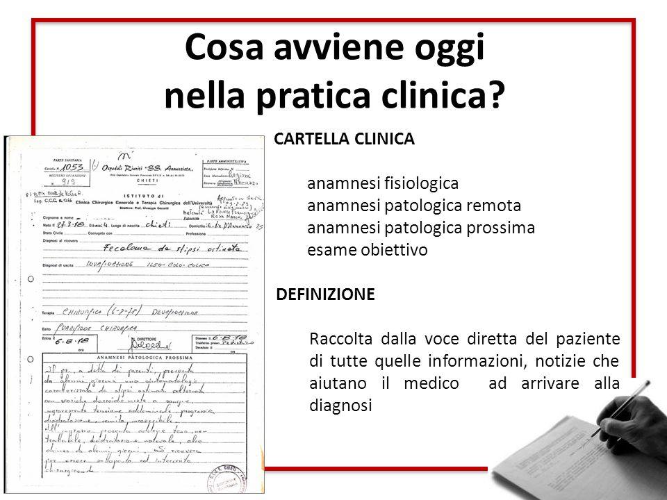Cosa avviene oggi nella pratica clinica? CARTELLA CLINICA anamnesi fisiologica anamnesi patologica remota anamnesi patologica prossima esame obiettivo