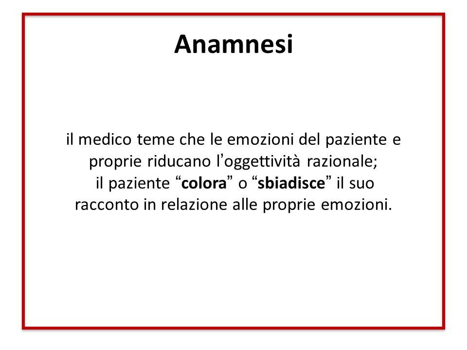 """Anamnesi il medico teme che le emozioni del paziente e proprie riducano l'oggettività razionale; il paziente """"colora"""" o """"sbiadisce"""" il suo racconto in"""
