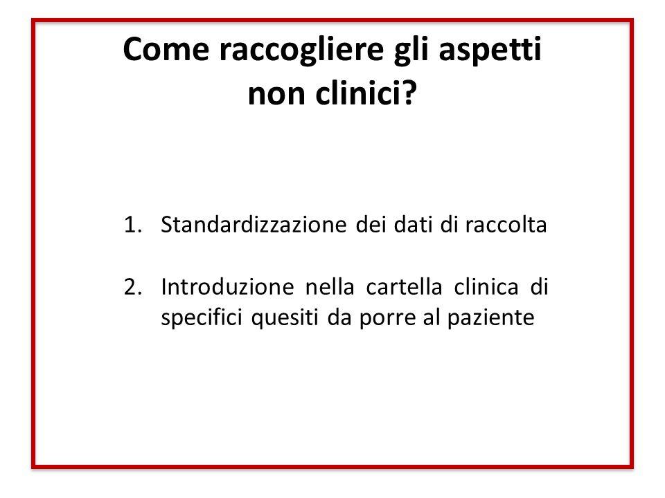 Come raccogliere gli aspetti non clinici? 1.Standardizzazione dei dati di raccolta 2.Introduzione nella cartella clinica di specifici quesiti da porre