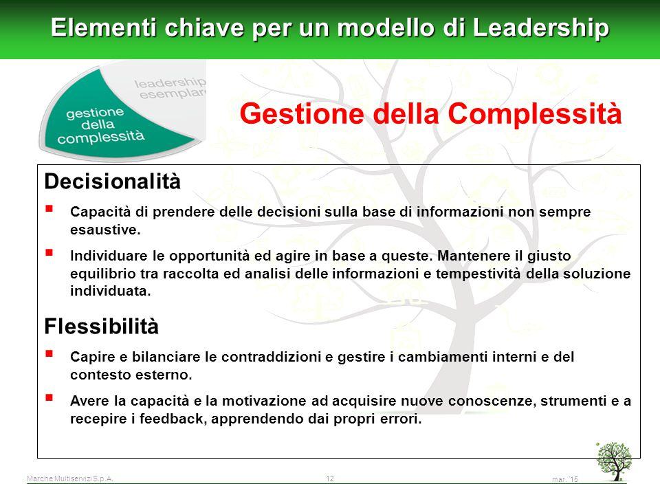 Marche Multiservizi S.p.A.12 Elementi chiave per un modello di Leadership Decisionalità  Capacità di prendere delle decisioni sulla base di informazi