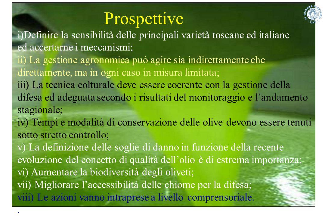 Prospettive i)Definire la sensibilità delle principali varietà toscane ed italiane ed accertarne i meccanismi; ii) La gestione agronomica può agire si